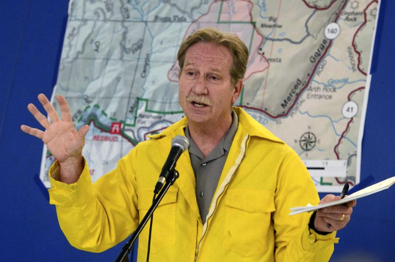 In this July 28, 2014, file photo, then-Yosemite National Park Superintendent Don Neubacher speaks in El Portal, Calif. Neubacher created a hostile workplace by belittling employees, using words such as stupid, bozo and lazy, and showing gender bias against women, a new report says. (Mark Crosse / Fresno Bee via AP)