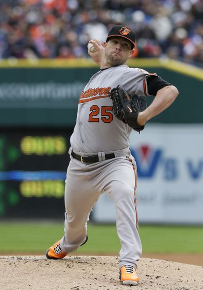 Orioles' Bud Norris pitched two-hit ball for 61/3 innings. (Associated Press)