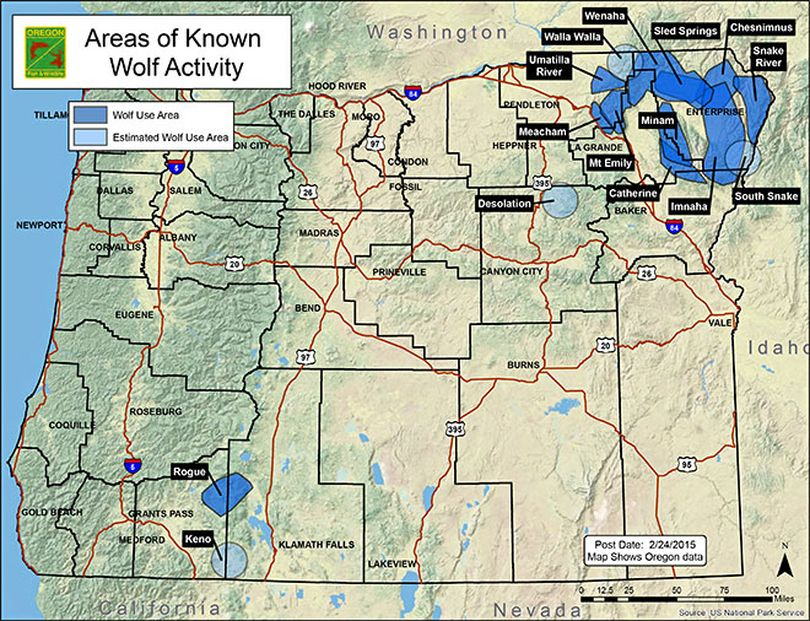 Oregon wolf activity documented through February 2015. (Oregon Department of Fish and Wildlife)