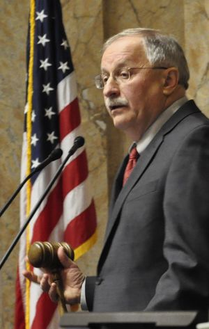 OLYMPIA -- House Speaker Frank Chopp, D-Seattle, calls for a vote on the DREAM Act after opening the legislative session Monday. The bill passed 71-23. (Jim Camden)