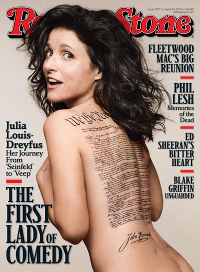 This undated photo released by Rolling Stone shows the cover of the April 24, 2014 issue of Rolling Stone magazine featuring actress Julia Louis-Dreyfus, photographed by Mark Seliger for Rolling Stone. (Mark Seliger for Rolling Stone / AP)