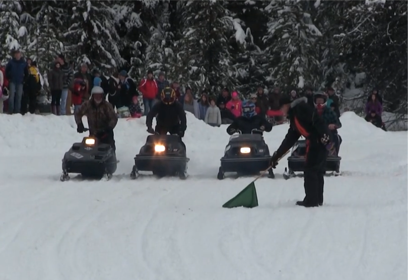 A heat prepares to start in the 2016 vintage snowmobile races at Priest Lake on Jan. 17, 2016.