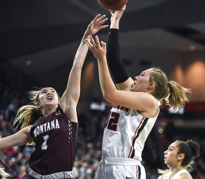Gonzaga guard Jill Townsend (32) fires over Montana guard Katie Mayhue (1), Wednesday, Nov. 7, 2018 in the McCarthey Athletic Center.   (Dan Pelle/THE SPOKESMAN-REVIEW)