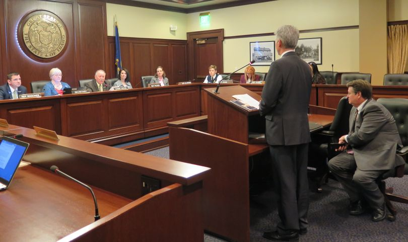The Idaho House Health & Welfare Committee, chaired by Rep. Fred Wood, R-Burley, hears from Idaho Department of Health & Welfare Director Russ Barron on Monday, Jan. 15, 2018, about the Idaho Health Care Plan; at right is state Insurance Director Dean Cameron. The committee voted to introduce legislation authorizing the launch of the program, but still will hold hearings in the coming weeks before it votes on whether to approve the bill. (Betsy Z. Russell)