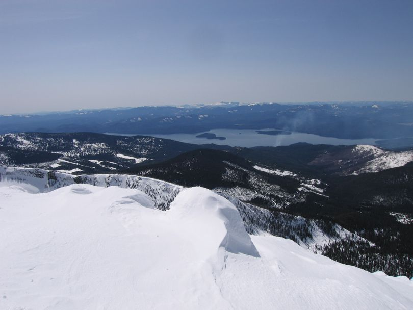 Looking west across Priest Lake Kalispell and Bartoo Islands can be seen. Priest Lake offers over 400 miles of groomed snowmobile trails.  (Craig Hill)