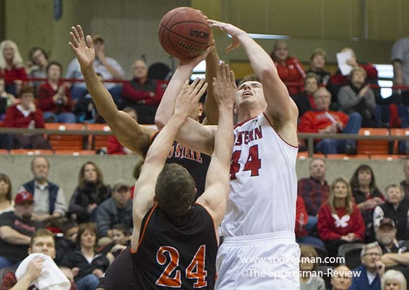 Eastern Washington's Felix Von Hofe (44) fights for a rebound against Idaho State during a college basketball game on Saturday, Jan. 3, 2015, at Eastern Washington in Cheney, Wash. (Tyler Tjomsland / Spokesman Review)