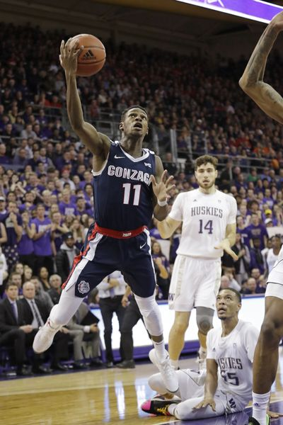 Gonzaga guard Joel Ayayi drives against Washington in the first half of the Zags' win last December. The Huskies visit GU on Dec. 12  (Associated Press)