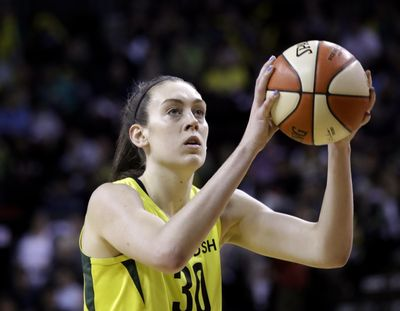 Seattle Storm's Breanna Stewart in action against the Phoenix Mercury in a WNBA basketball playoff semifinal on Aug. 26, 2018, in Seattle. (Elaine Thompson / AP)