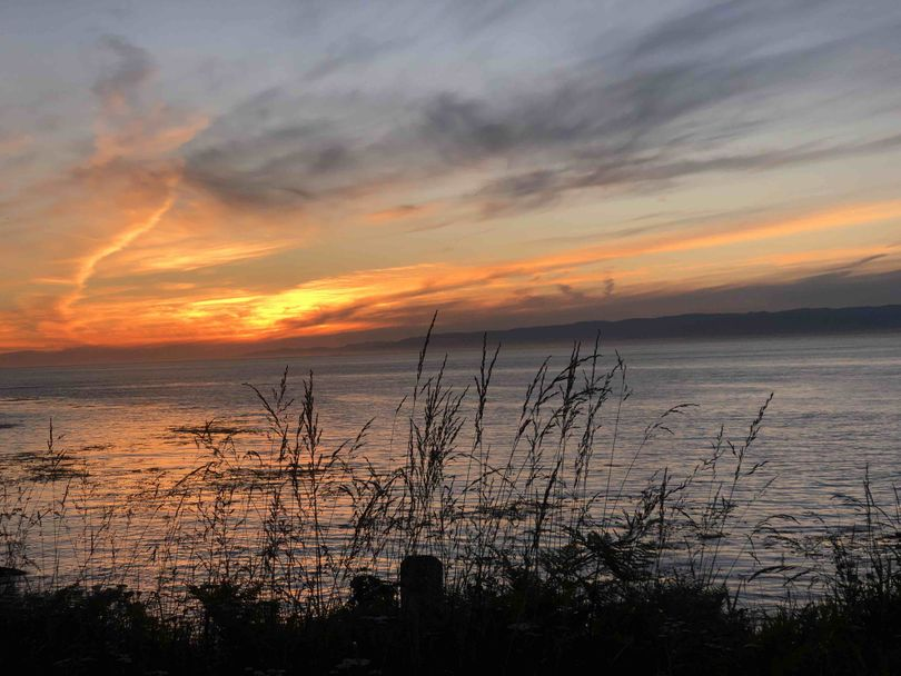The Going Mobile team stayed up late for the summer solstice sunset on the Strait of Juan de Fuca. (Leslie Kelly)