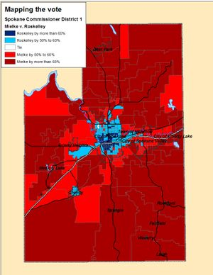 Map of the votes for Spokane County Commissioner District 1 base on Election Night totals (Jim Camden)