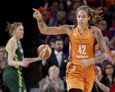 Phoenix Mercury center Brittney Griner (42) points to a teammate after scoring during the first half of a first-round WNBA playoff basketball game against the Seattle Storm, Wednesday, Sept. 6, 2017, in Tempe, Ariz. (Matt York / Associated Press)