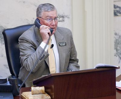 Idaho Speaker of the House Rep. Scott Bedke talks on the phone on the House floor during the 2021 regular legislative session at the Idaho State Capitol. Bedke did not respond to a request for comment regarding the threat of an Idaho government shutdown.  (Brian Myrick/Idaho Press)