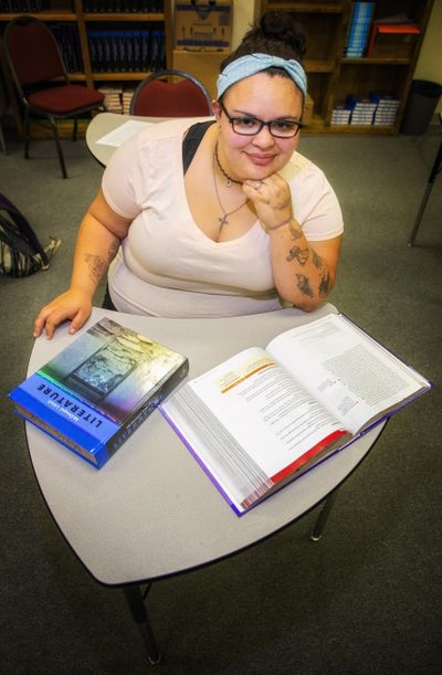 Rebecca Thompson poses for a portrait, at Magic Valley High School in Twin Falls, Idaho. (Pat Sutphin / Times-News)