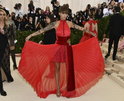 Ruby Rose attends The Metropolitan Museum of Art's Costume Institute benefit gala celebrating the opening of the Heavenly Bodies: Fashion and the Catholic Imagination exhibition on Monday, May 7, 2018, in New York. (Charles Sykes / Charles Sykes/Invision/AP)