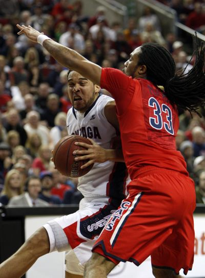 Gonzaga's Elias Harris, who scored 25 points, drives past Arizona's Jesse Perry during the first half Saturday. (Associated Press)