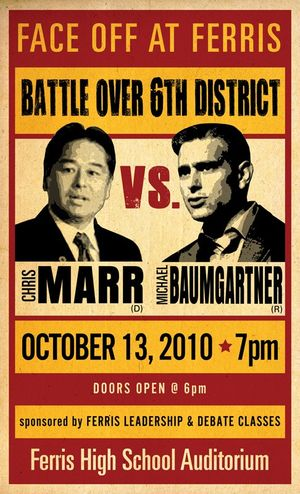 Poster for Ferris High School debate featuring Chris Marr and Michael Baumgartner. The state Senate debate will be held on Wednesday, Oct. 13, 2010.