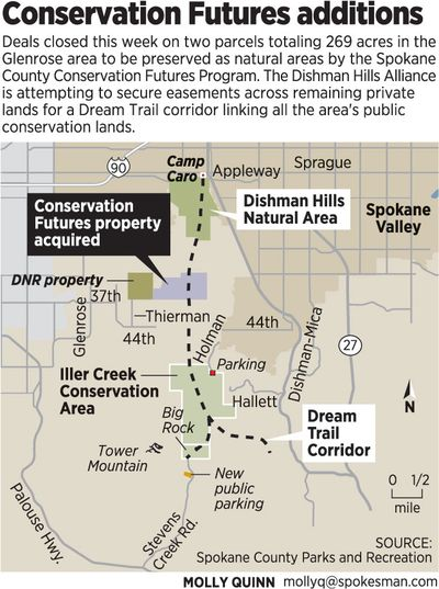Map shows McCollum and Stone properties purchased in the Glenrose area by the Spokane Conservation Futures Program and the Dishman Hills Natural Area Association. (Molly Quinn)