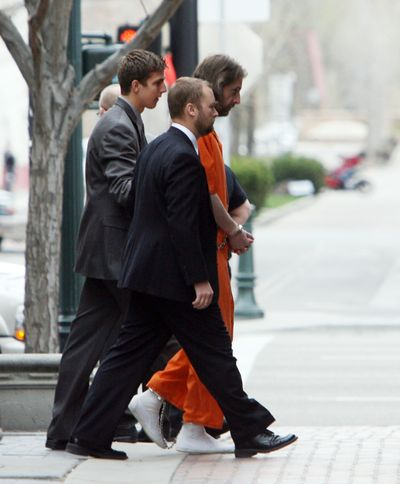 Joseph Duncan, in handcuffs, is escorted to jury selection for his trial in downtown Boise on April 14.  (File Associated Press / The Spokesman-Review)