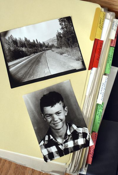 This Nov. 15, 2016, photo shows investigation files for the unsolved murder of Lonnie Jones, east of Orofino in 1951. Now 65 years since the discovery, it remains the only unsolved documented murder case in Clearwater County. (Barry Kough / Barry Kough Lewiston Tribune)