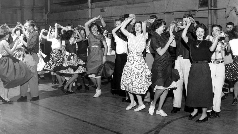 S-R Archive find of the day: In this 1952 photo, high school students take a western dance workshop at Lewis and Clark High School. The classes held every Saturday were sponsored by the public schools and the parks board and were so popular that a limit had to be set on the number of students who could attend from each school. Students here are learning LaNationale, a British dance, led by Bob Helms and Isabelle Wright, pictured far left.  (Photo Archive)