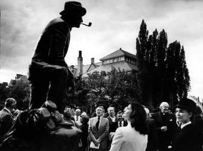 Kathryn Crosby looks on at the dedication of a Bing Crosby sculpture on the campus of Gonzaga University in 1981.   (File / The Spokesman-Review)