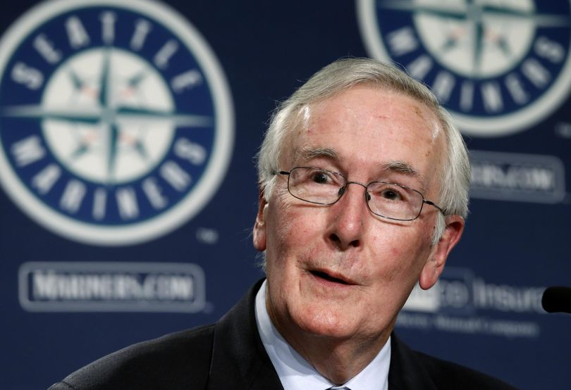 Current Seattle Mariners Chairman Howard Lincoln speaks Wednesday at a news conference announcing the intended sale of the club, along with his plan to retire from day-to-day oversight of the franchise. (Associated Press)