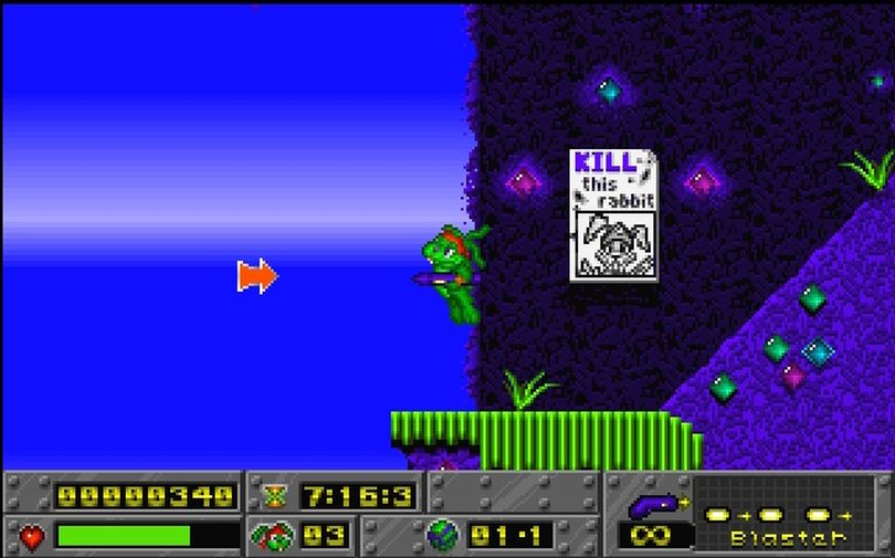 Jazz Jackrabbit capitalized on the sidescrolling phenomenon when Cliff Bleszinski and Arjan Brussee unleashed the fleet-footed protagonist to PC gamers in 1994.