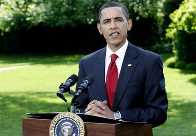 President Barack Obama makes a brief statement to reporters Wednesday just before departing on a trip to Phoenix.  (Associated Press / The Spokesman-Review)