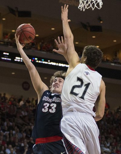 Gonzaga forward Kyle Wiltjer, left, impressed NBA teams with his vertical jump at a combine in Chicago. (Colin Mulvany / The Spokesman-Review)