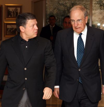 Jordan's King Abdullah II, left, meets U.S. Middle East envoy George Mitchell at the royal palace in Amman, Jordan, on Saturday.  (Associated Press / The Spokesman-Review)