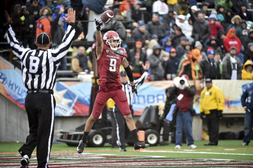 Washington State receiver Gabe Marks (9) reacts after hauling in a touchdown pass against Miami during the Hyundai Sun Bowl on Saturday, Dec 26, 2015, at Sun Bowl Stadium in El Paso, TX. (Tyler Tjomsland / The Spokesman-Review)