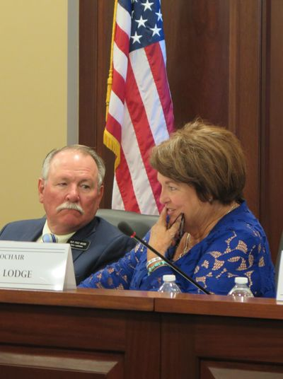 Idaho Rep. Fred Wood, R-Burley, left, confers with Sen. Patti Anne Lodge, R-Huston, during a meeting of the Idaho Legislature's ethics and campaign finance work group, which the two co-chair, on Monday, Aug. 28, 2017 at the Idaho state Capitol. (Betsy Z. Russell)