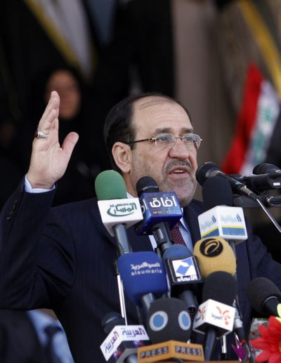 During a visit to Basra late last month, Iraqi Prime Minister Nouri al-Maliki urged citizens to vote.  (File Associated Press / The Spokesman-Review)