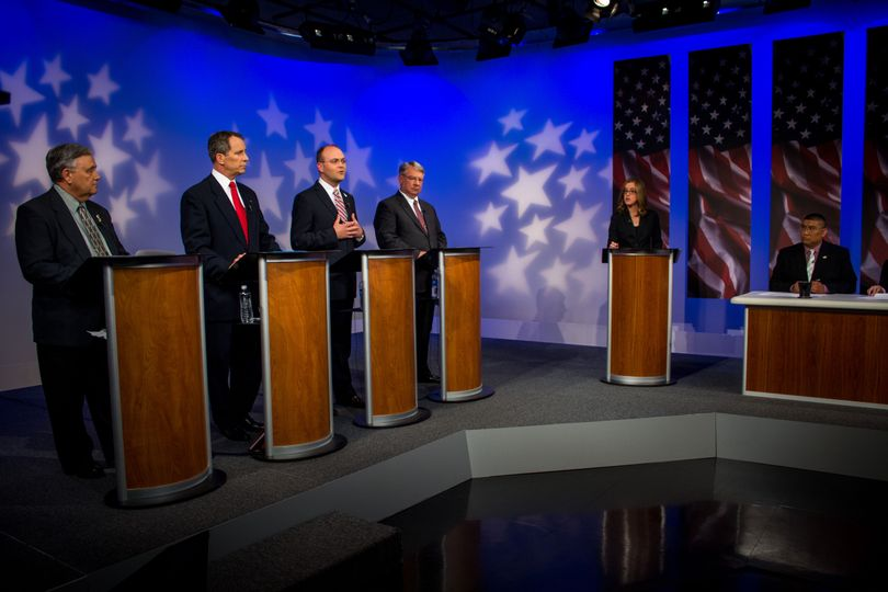 Phil McGrane, third from left, speaks during a debate among the four GOP candidates for Idaho Secretary of State on Idaho Public Television (Idaho Public TV)