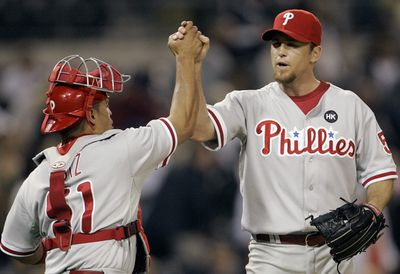 Last year's perfection is a distant memory for Brad Lidge.  (Associated Press / The Spokesman-Review)