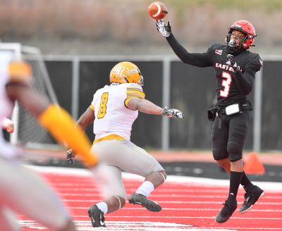 Eastern Washington Eagles quarterback Eric Barriere (3) throws against the University of Idaho during the second half on April 10, 2021, at Roos Field in Cheney, Wash. EWU won the game 38-31.  (Tyler Tjomsland/The Spokesman-Review)