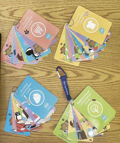 The conversation cards are assembled in groups.  (Courtesy photo)