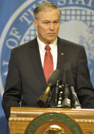 OLYMPIA -- Gov. Jay Inslee denounced vandalism against Hindus and Muslims at a press conference on March 5 (Jim Camden)
