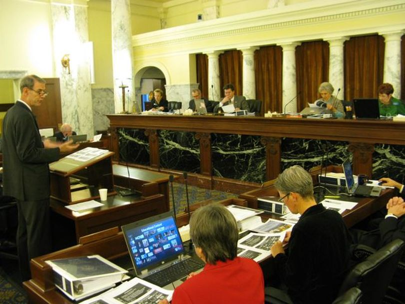 The Joint Finance-Appropriations Committee hears the budget request for Idaho Public Television on Tuesday morning, presented by general manager Peter Morrill. (Betsy Russell)