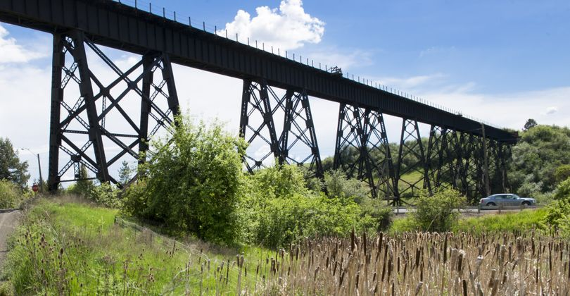 Supporters want to renovate the old trestle, pictured, as an attraction for recreational use on the John Wayne Trail.
