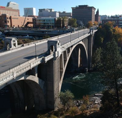 A Nespelem man was sentenced to two years in prison Wednesday for assaulting his girlfriend. U.S. District Court Judge Rosanna Malouf Peterson sentenced Louis M. Clark, 28, to 24 months in prison at the Thomas S. Foley United States Courthouse, shown here in 2019 above the Monroe Street Bridge. (Jesse Tinsley / The Spokesman-Review)
