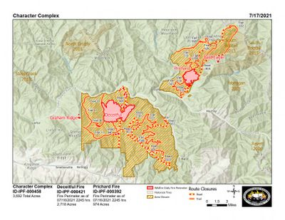 Idaho Panhandle National Forests released this map of the Character Complex on Saturday, July 17, 2021.  (Idaho Panhandle National Forests)