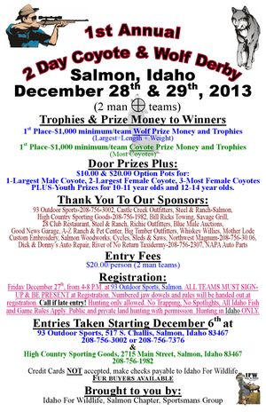 Poster for Coyote - Wolf hunting derby sponsored by Idaho for Wildlife based out of Salmon, Idaho.