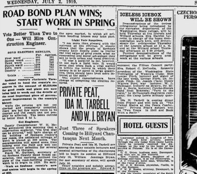 Spokane County's big road-paving bond issue passed by a nearly two-to-one margin, The Spokesman-Review reported on July 2, 2019. The newspaper also reported that Ida Tarbell and William Jennings Bryan would be particiapting in a chautauqua in Hillyard. (Spokesman-Review archives)