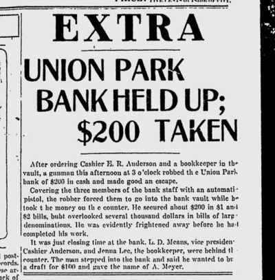 An armed man left $1,000 in a cash drawer at the Union Park Bank on East Sprague on Oct. 19, 1920, the Spokane Daily Chronicle reported on its front page.  (S-R archives)