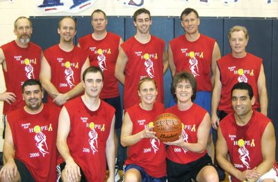 Faculty from Mead School District sweated it out for a good cause in the 2008 Hoops for Hope basketball benefit game. Pictured are, front row from left, Adam Morris, Alex Schuerman, Annette Helling, Jeanne Helfer and Dan Figueira, and back row from left, Craig Deitz, Darin Rinck, Dan Smith, Luke Thomas, Jim Preston and Tom Flanigan. Photo courtesy of Mt. Spokane High School Vice Principal Jim Preston (Photo courtesy of Mt. Spokane High School Vice Principal Jim Preston / The Spokesman-Review)