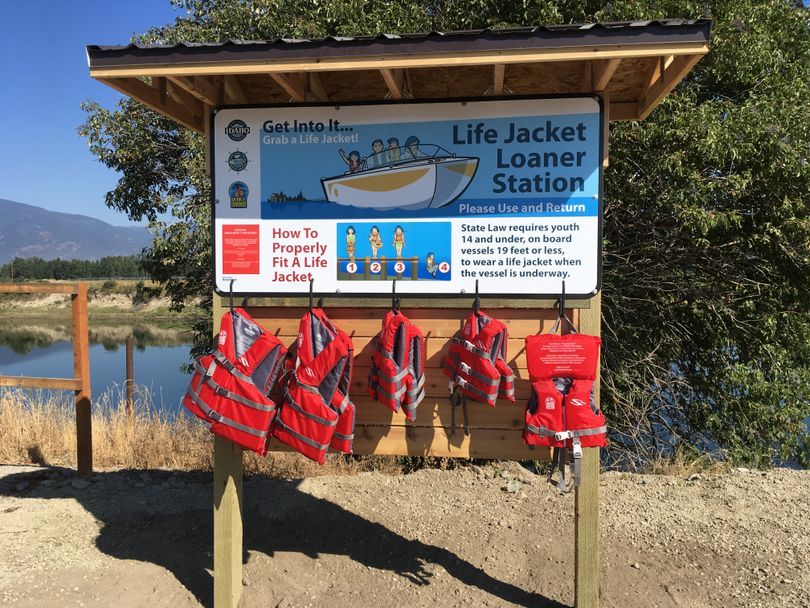 PFD's are available for loan at this kiosk along the Kootenai River in Boundary County, Idaho. (Boundary County Emergency Services)