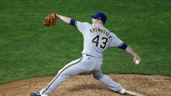 Milwaukee Brewers pitcher Drew Rasmussen throws against the Minnesota Twins in the seventh inning of a game on Aug. 19 in Minneapolis.  (Jim Mone)
