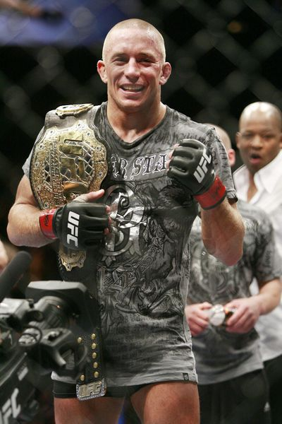 Georges St. Pierre defended his welterweight title Saturday night with a victory over challenger B.J. Penn at UFC 94 in Las Vegas.  (Associated Press / The Spokesman-Review)