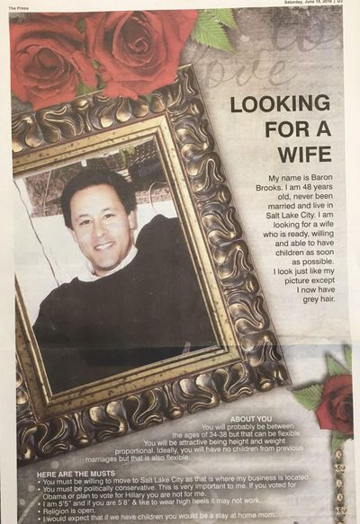 """The """"Looking for a wife"""" ad that Baron Brooks' father bought on behalf of his son, and without his son's knowledge. Brooks said he was shocked when he saw it, but says, """"It's worth a shot. Can't hurt."""" (Coeur d'Alene Press)"""